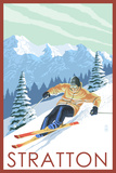 Stratton, Vermont - Downhill Skier Scene Posters by  Lantern Press