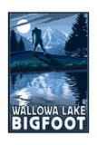 Wallowa Lake, Oregon - Bigfoot Prints by  Lantern Press