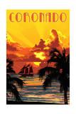 Coronado, California - Sunset and Ship Posters