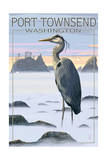 Port Townsend, Washington - Blue Heron and Fog Posters