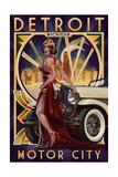 Lantern Press - Detroit, Michigan - Deco Woman and Car Plakát
