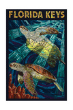 Florida Keys - Sea Turtle Mosaic Poster by  Lantern Press