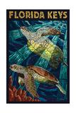 Florida Keys - Sea Turtle Mosaic Print by  Lantern Press