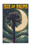 Isle of Palms, South Carolina - Palmetto Moon and Palm Prints by  Lantern Press