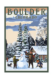 Boulder, Colorado - Snowman Scene Art
