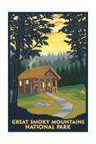 Great Smoky Mountains National Park, Tennessee - Cabin in the Woods Poster by  Lantern Press