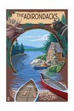The Adirondacks, New York State - Lake Montage Scene Prints by  Lantern Press