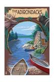 The Adirondacks, New York State - Lake Montage Scene Prints