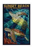 Sunset Beach - Calabash, North Carolina - Sea Turtle Paper Mosaic Posters van  Lantern Press