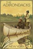 The Adirondacks, New York - Hunters in Canoe Prints by  Lantern Press