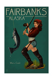 Fairbanks, Alaska - Salmon Fisher Pinup Girl Print by  Lantern Press