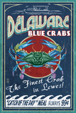 Lewes, Delaware - Blue Crabs Vintage Sign Print by  Lantern Press