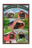 Bridges of Vermont - Montage Print by  Lantern Press