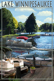 Lake Winnipesaukee, New Hampshire - Pontoon and Lake Print by  Lantern Press