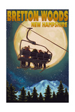 Bretton Woods, NH - Ski Lift and Full Moon Art by  Lantern Press