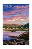Torch Lake, Michigan - Lake Scene at Dusk Posters by  Lantern Press
