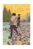 Women Fly Fishing Scene Prints by  Lantern Press