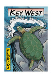 Key West, Florida - Sea Turtle Woodblock Print Poster van  Lantern Press