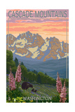 Cascade Mountains, Washington - Bears and Spring Flowers Print by  Lantern Press