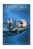 Florence, Oregon - Sea Otter Prints