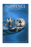 Florence, Oregon - Sea Otter Prints by  Lantern Press