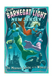Barnegat Light, New Jersey - Mermaids Vintage Sign Poster by  Lantern Press