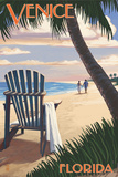 Venice, Florida - Adirondack Chair on the Beach Art by  Lantern Press