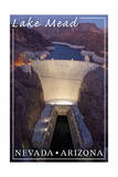Lake Mead, Nevada - Arizona - Hoover Dam at Night Art by  Lantern Press