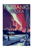 Fairbanks, Alaska - Northern Lights and Cabin Posters by  Lantern Press