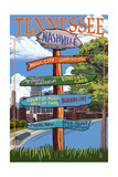Nashville, Tennessee - Sign Destinations Ver 3 Prints by  Lantern Press