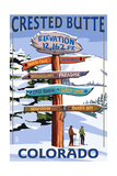 Crested Butte, Colorado - Ski Run Signpost Prints by  Lantern Press