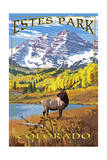 Estes Park, Colorado - Mountains and Elk Prints by  Lantern Press