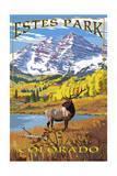 Estes Park, Colorado - Mountains and Elk Prints by  Lantern Press