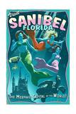 Sanibel, Florida - Live Mermaids Posters