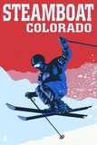 Steamboat, Colorado - Colorblocked Skier Poster