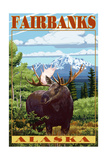 Fairbanks, Alaska - Moose Scene Prints by  Lantern Press