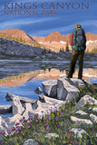 Hiker and Lake - Kings Canyon National Park, California Prints by  Lantern Press
