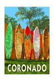Coronado, California - Surfboard Fence Print by  Lantern Press