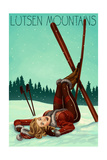 Lutsen Mountains, Minnesota - Pinup Skier Art by  Lantern Press