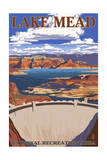 Lake Mead - National Recreation Area - Dam View Print by  Lantern Press