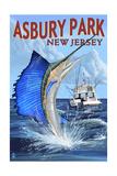 Asbury Park, New Jersey - Sailfish Deep Sea Fishing Posters by  Lantern Press