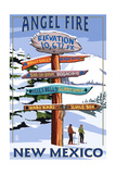 Angel Fire, New Mexico - Destinations Signpost Prints by  Lantern Press