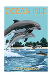 Ocean Isle - Calabash, North Carolina - Dolphins Jumping Posters by  Lantern Press