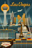 Las Vegas, Nevada - Retro Skyline Print by  Lantern Press