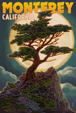 Monterey, California - Cypress and Full Moon Prints by  Lantern Press