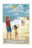 Rehoboth Beach, Delaware - Kite Flyers Poster by  Lantern Press
