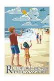 Rehoboth Beach, Delaware - Kite Flyers Poster