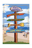 North Wildwood, New Jersey - Destination Sign Prints by  Lantern Press