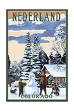 Nederland, Colorado - Snowman Scene Prints by  Lantern Press