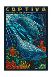 Captiva, Florida - Dolphin Paper Mosaic Prints by  Lantern Press